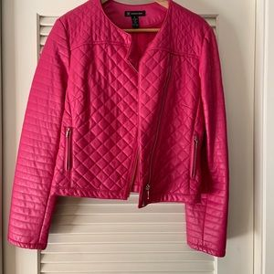 INC Pink leather (faux) motorcycle jacket